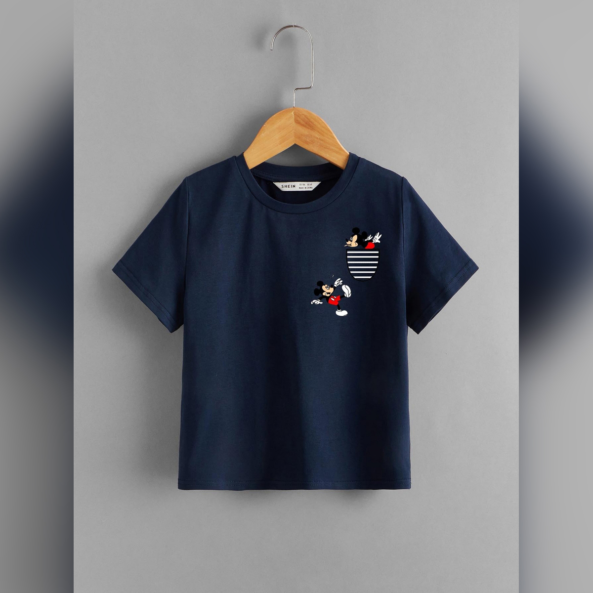 The Hanger Pocket Mickey Mouse Logo Printed T-Shirt For Kids