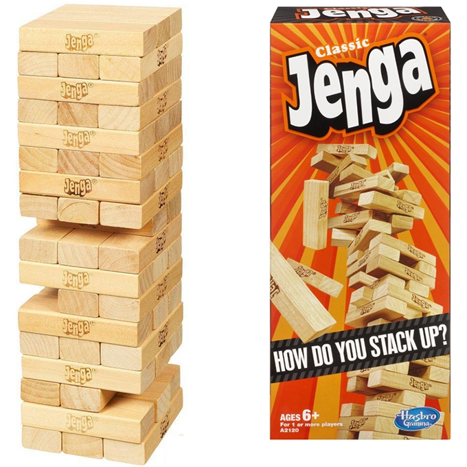 Classic Jenga Wooden Stacking Tower Board Game for Kids & Adults