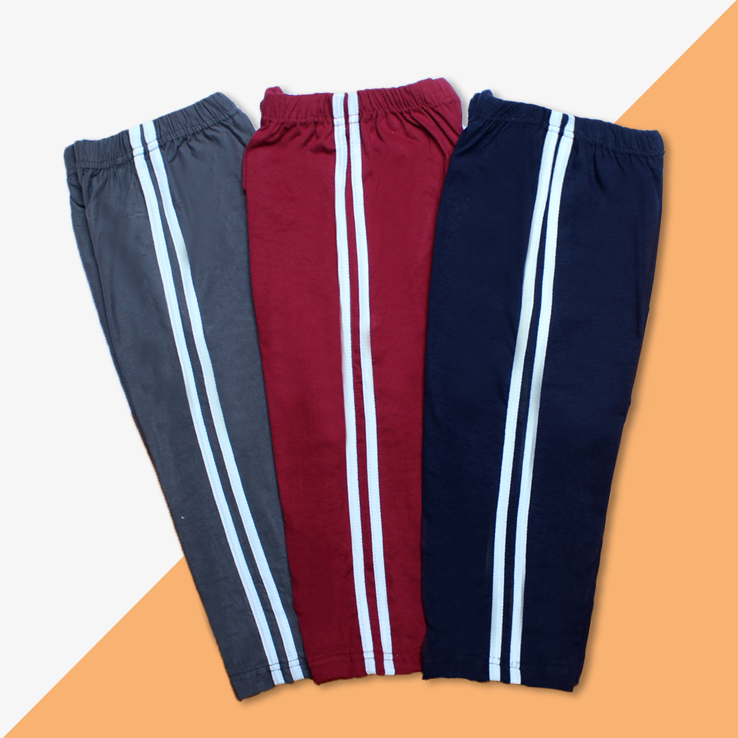 Bindas Collection Pack Of 3 Maroon Steel Grey Navy Blue Mix Cotton Summer Trousers For Kids (Clearance Sale)