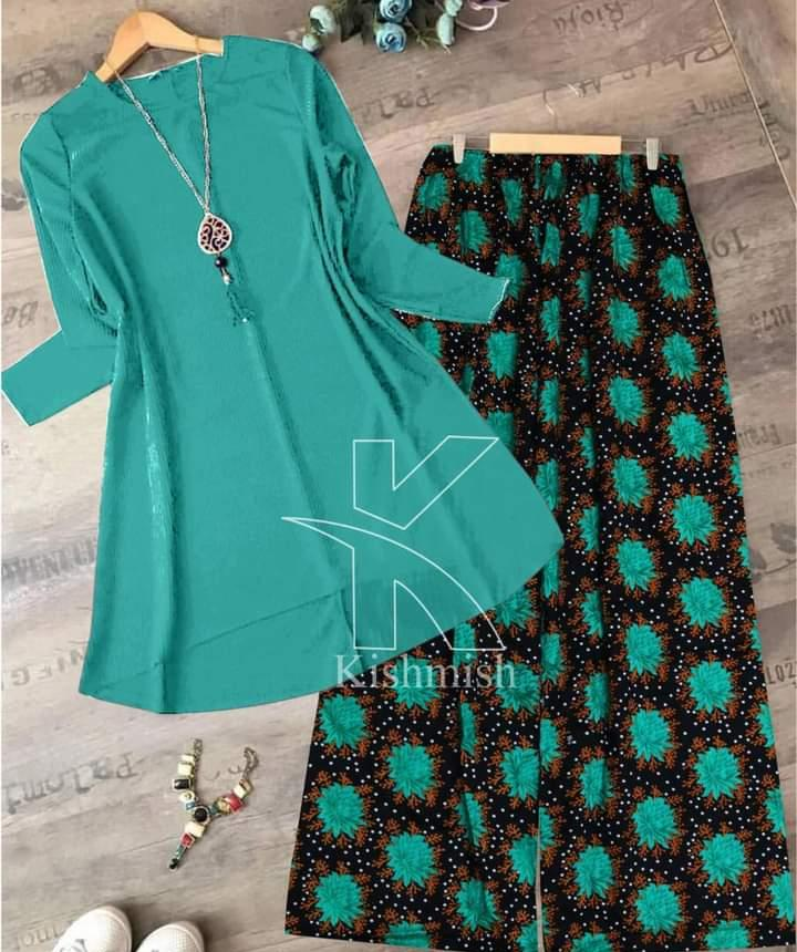 Stylish Plain Top Shirt With Printed Trousers For Ladies