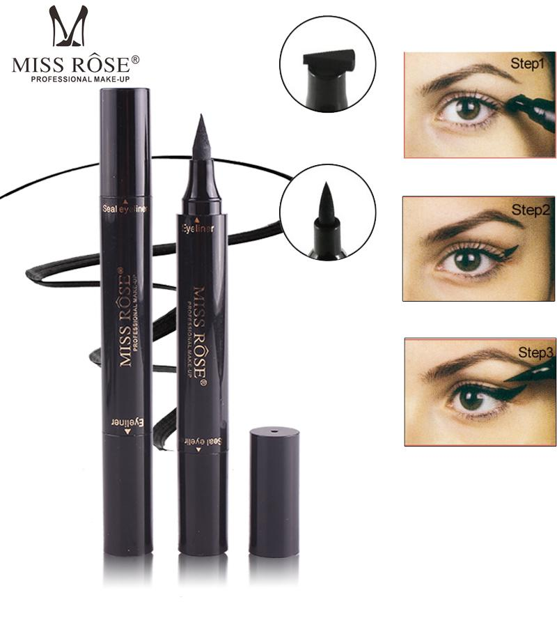 Miss Rose Liquid Eyeliner Pen Makeup Waterproof Long Lasting Fast Dry Black Eye Liner Pencil With Eyeliner Stamps Cosmetic Tool