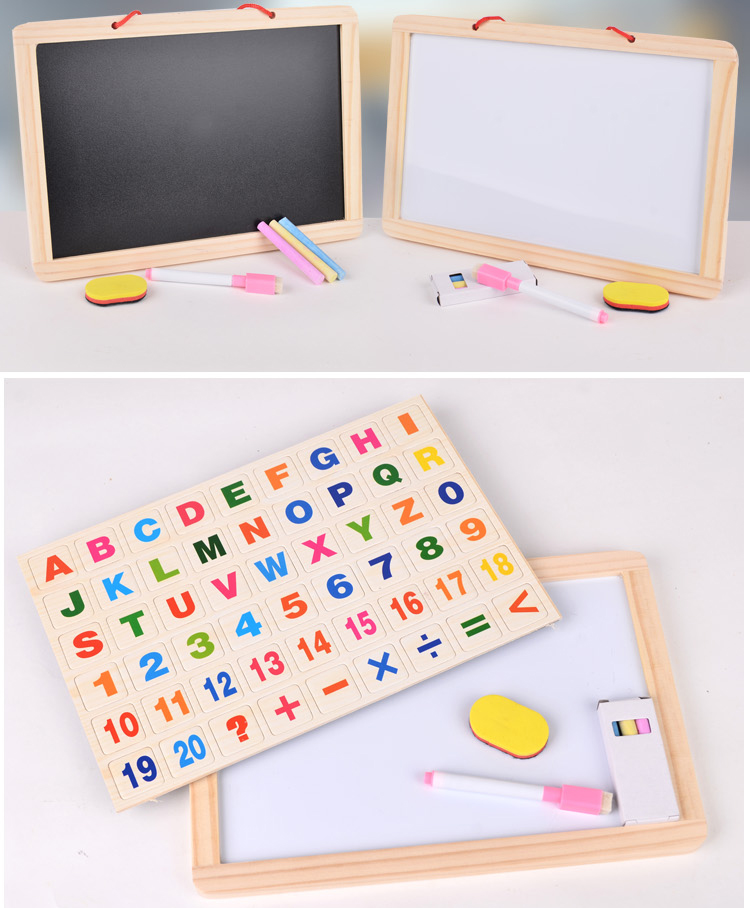 Toys Factory Double-Sided Medium Blackboard Whiteboard Hanging Wall Magnetic Message Drawing Board Children