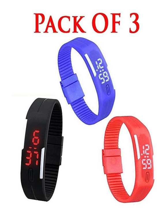 Pack Of 3 - Sports Led Watches For Kids - Multicolor