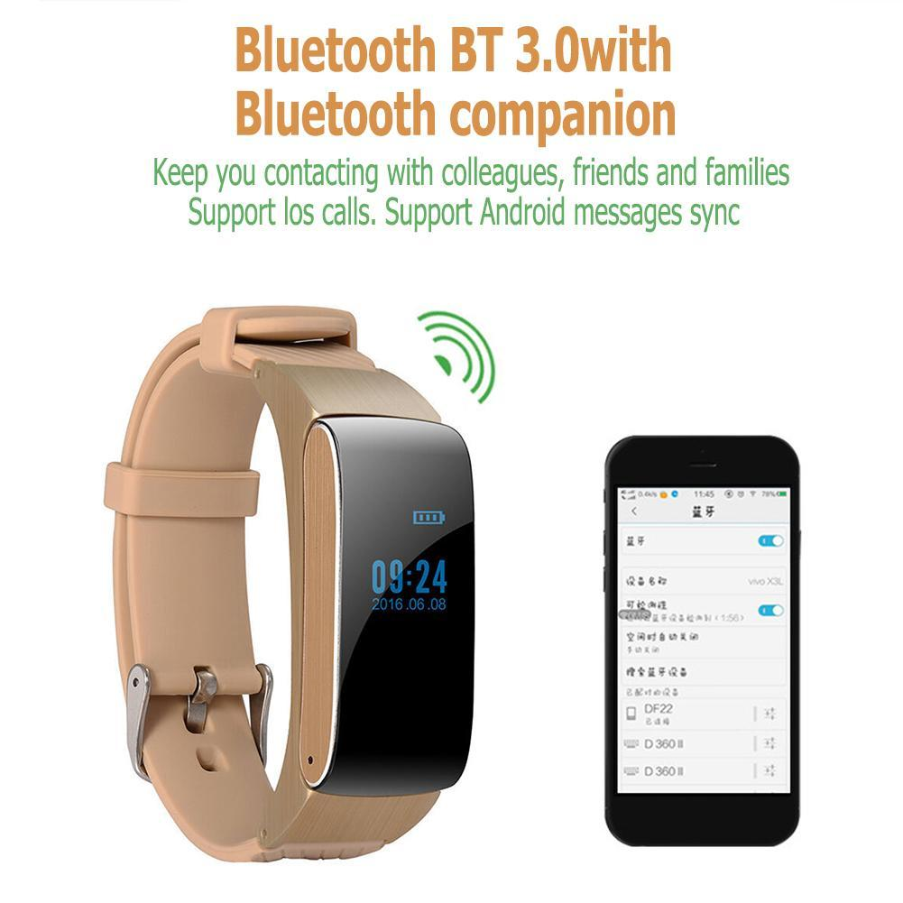 Bluetooth Bracelet DF22 Pedometer Fitness Tracker Phone Smart Watch (Gold)