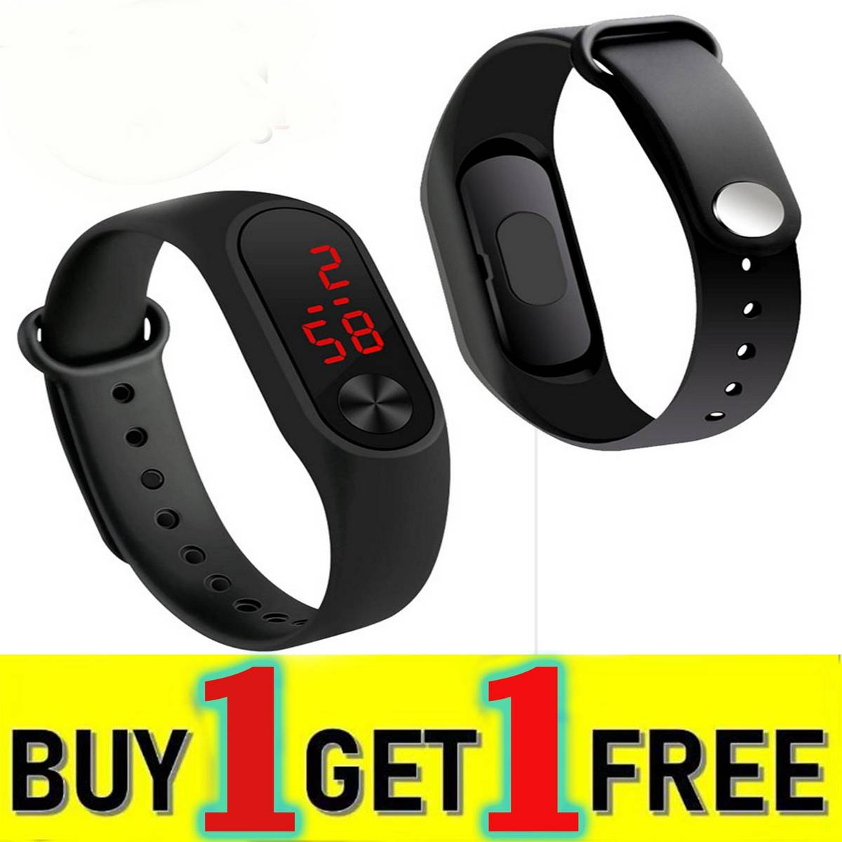 Pack of 2  Fashion Sport M3 LED Watch - LED Digit Sport Watches Silicone Rubber