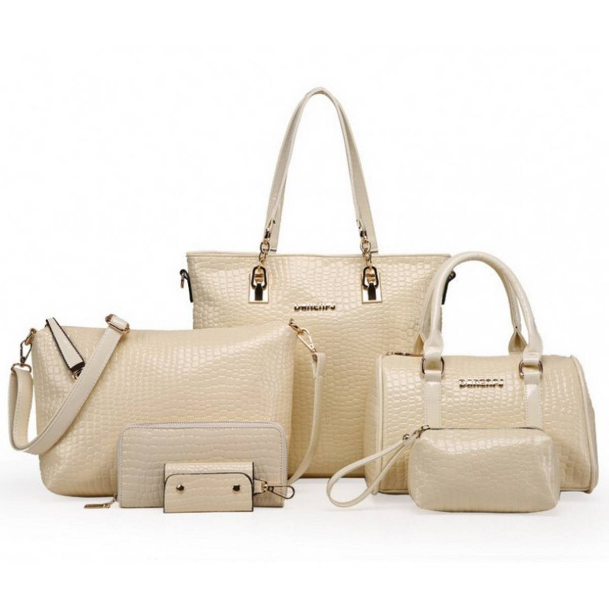 Women's Hand Bags SET Travel Bag Lady's Hanging Bag With Large Chain Crocodile Pattern Shoulder's Bag And Hand Wallet , Purse 6 Pcs.