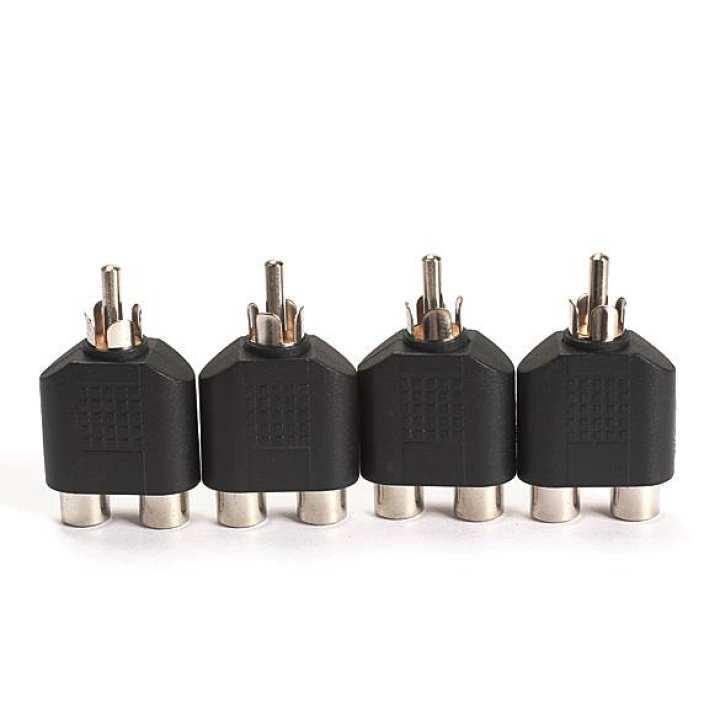4PCS RCA AV Audio Splitter Adapter 1 Male to 2 Female Converter Connector