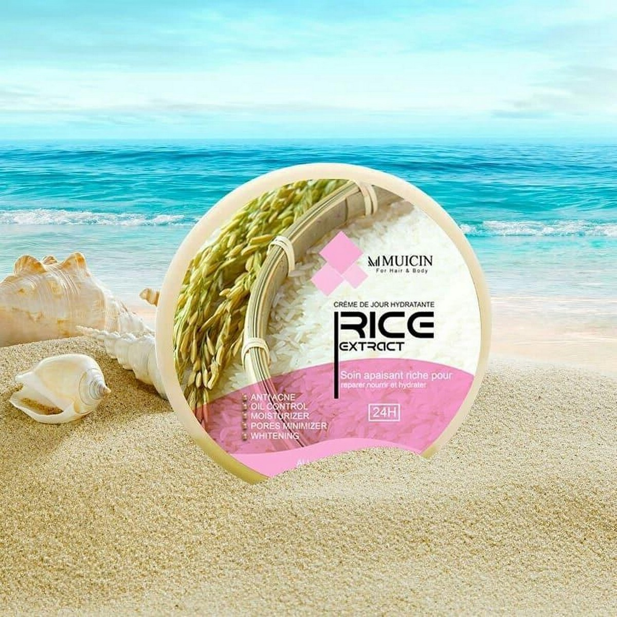 MUICIN RICE EXTRACT SOOTHING GEL FOR HAIR & BODY ANTI ACNE REITALIZING MOISTURIZING ANTI WRINKLES 300G