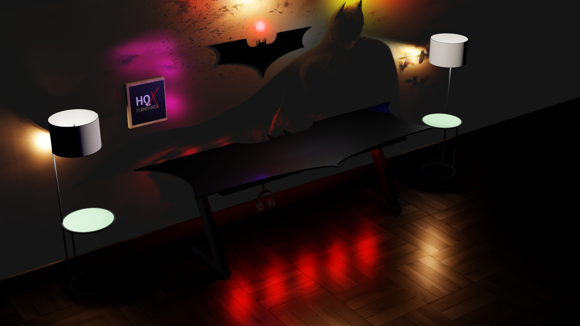 Professional Black Gaming Table - Batman Design Gaming Table - Pc Laptop Gamers Table - RGB Remote Control Lights on Table - Imported Black Wood Surface & Z-metal Frame - Headphone Holder - Wire Management hooks - High Quality Furniture