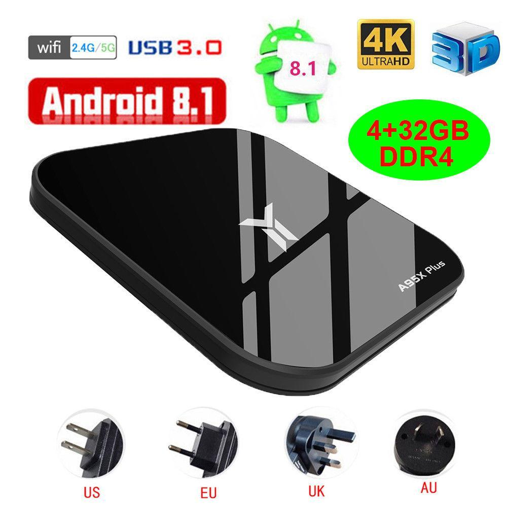 A95X PLUS TV BOX Android 8 1 4-Core 4GB+32GB DDR4 WiFi 100Mbps H 265 Media  Player