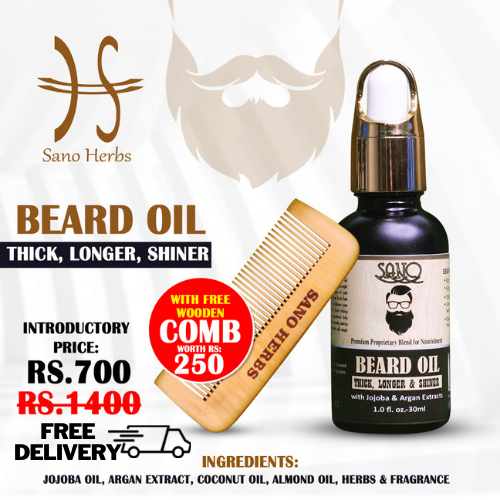 SanoHerbs Beard Oil - Growth - Shining - Thick - 100% Natural and Herbal No Side Effects