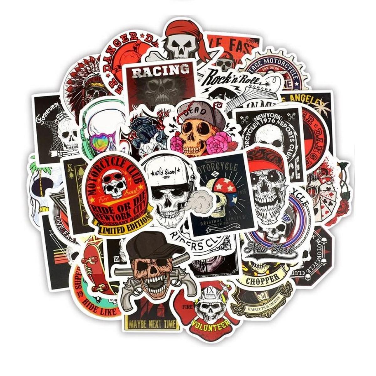 10 Pcs/Pack Skeleton Ghost Skull Punk Rock Horror Waterproof Stickers for Car Bike Laptop Skateboard TV Guitar