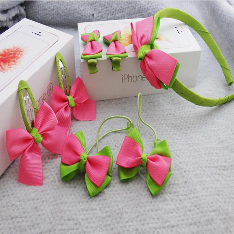 New Cute 7pcs Cute Kids Flower Bow Headband & Hair Accessories