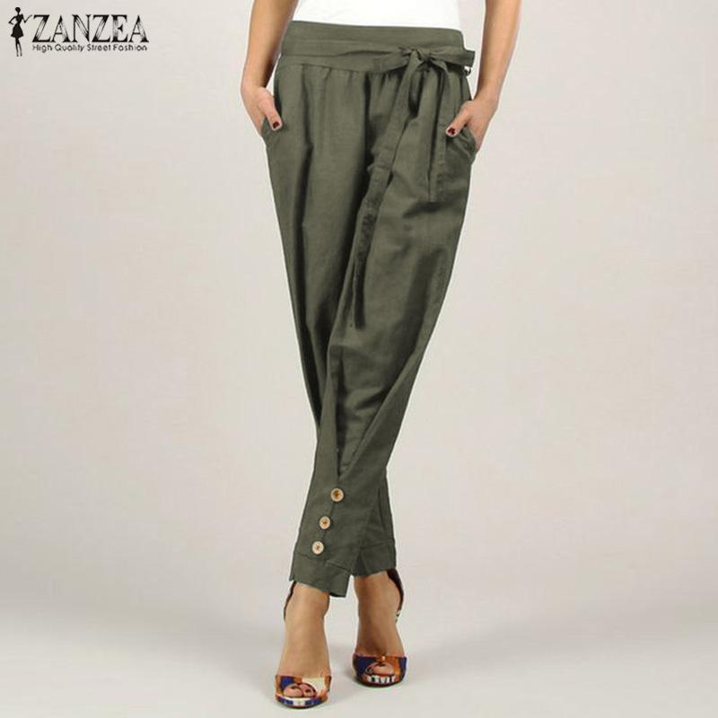 ZANZEA Plus Size S-5XL Women's Casual Long Pants Bowknot Solid Pants Pencil Trousers