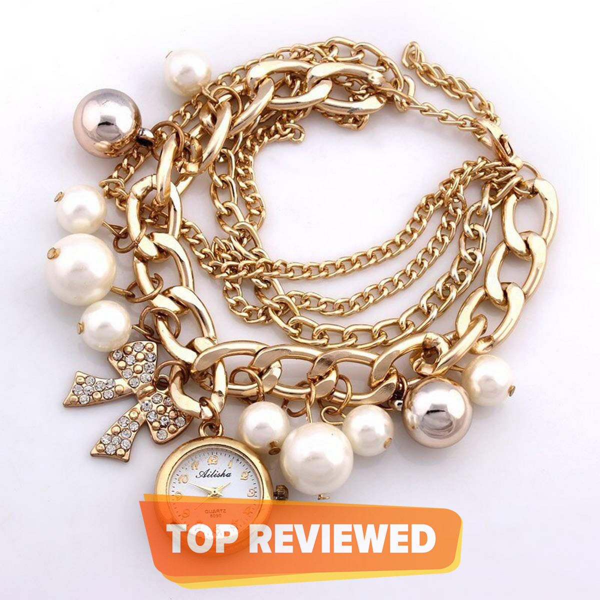 Stylish Golden Pearls Bracelet and Ladies Watch For Girls