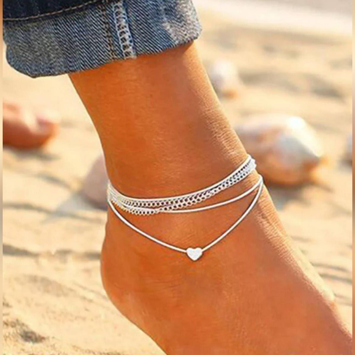 New Fashion Heart Anklet Bracelet Silver Chain Romantic Adjustable Anklet for girls