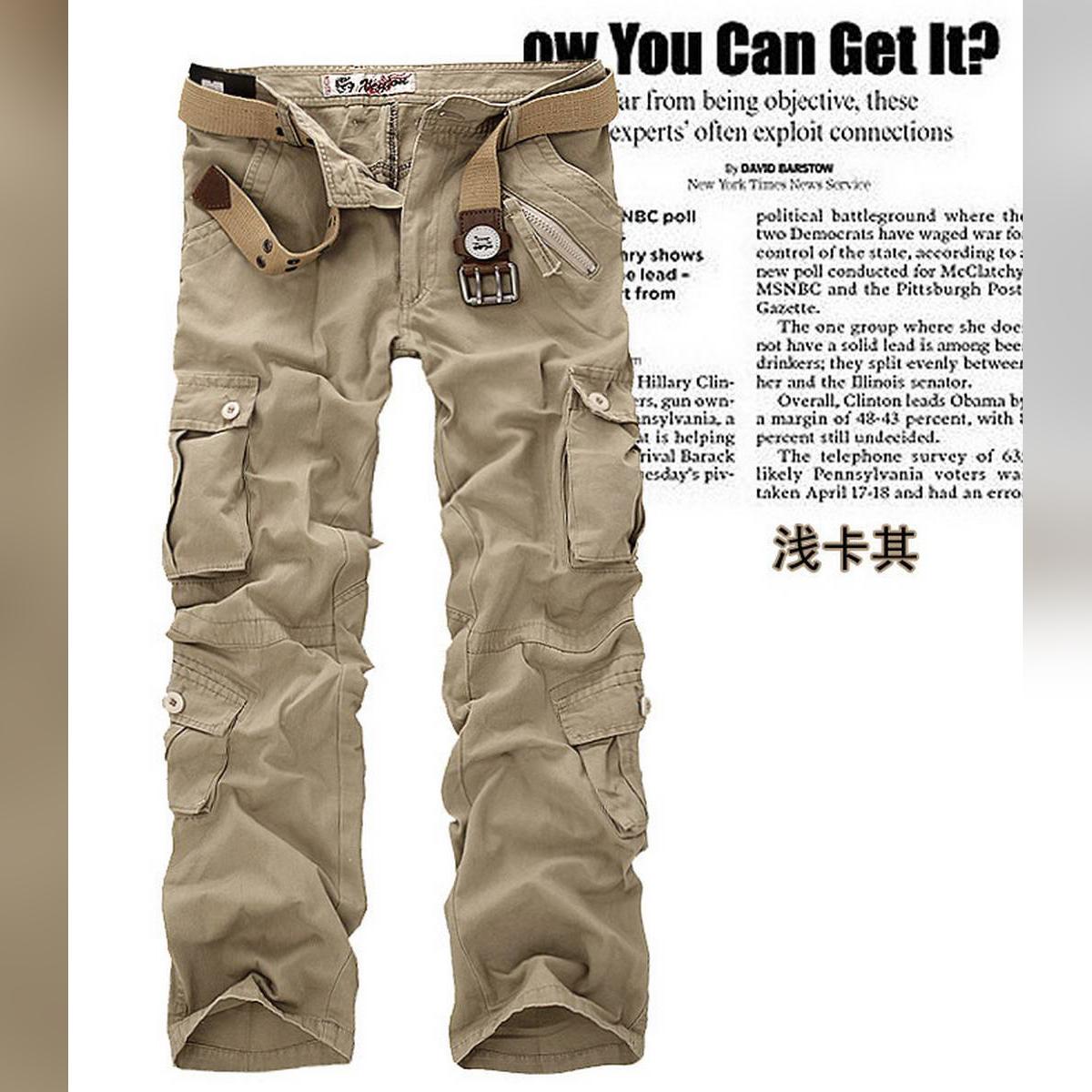 Men multi pocket cargo trouser khaki CT-0019