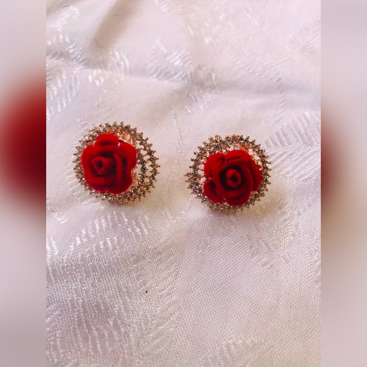 New Fashion artifical jewellery Stud and Drop Earrings Red Rose Flower Earrings For girls  Daily Wear Special Color Quality Stud Earrings for  women/girls/ladies 2 pairs girls fashion earring