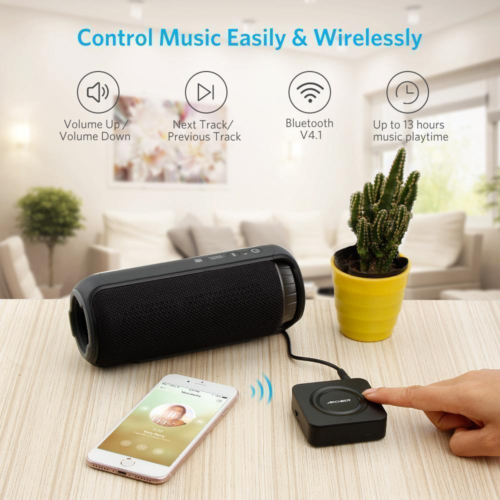 ARCHEER Bluetooth Transmitter and Receiver TOSLINK 3 5mm Audio Wireless  Adapter Black