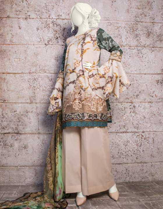 Junaid Jamshed Summer Collection 2019 Beige & Grey Lawn Unstitched - 3PCs Suit for Women