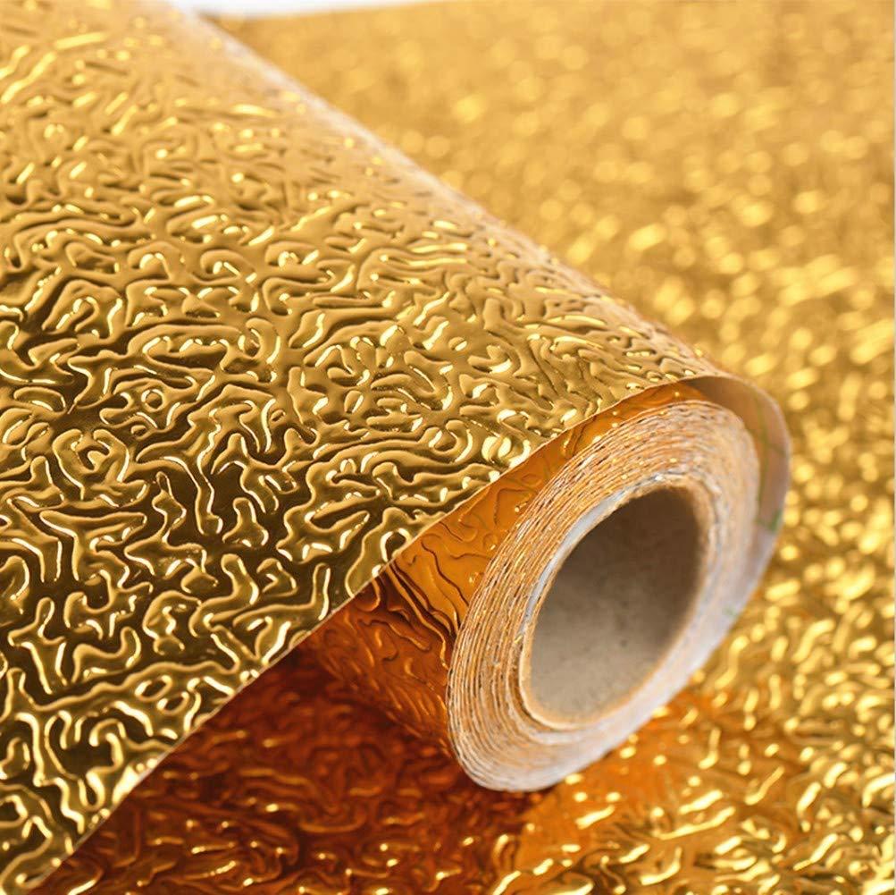 (60x200cm) Aluminium Foil Aluminium Foil Sticker Aluminium Foil Sheet Kitchen Waterproof Self-Adhesive Anti-Mold and Heat Resistant Oil Proof Aluminium Foil Paper Sticker Roll for Kitchen Wall, Drawers, Shelves and Furniture ( Golden )