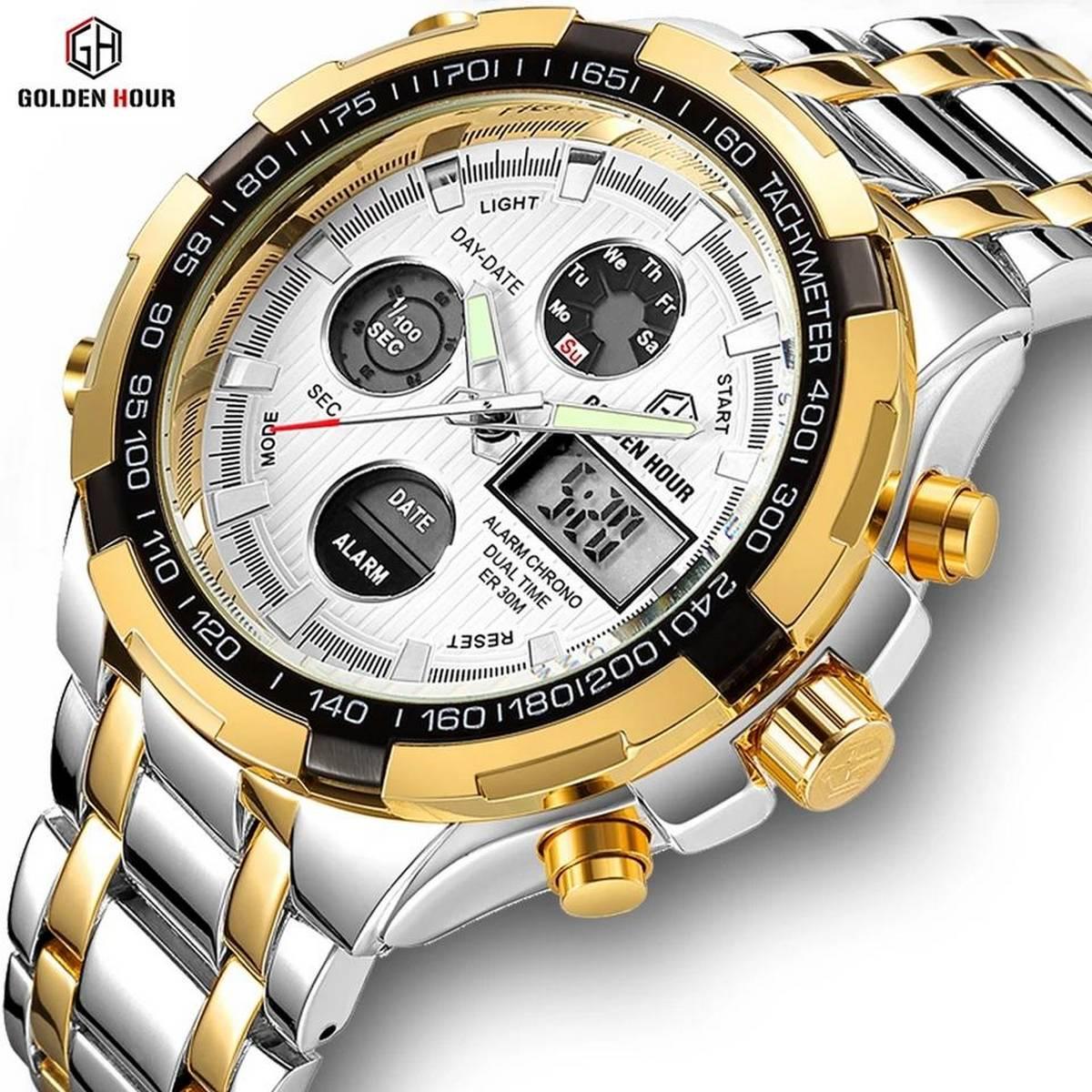 GOLDENHOUR 100% Chronograph Watch Luxury Brand Watch Gold Waterproof Watch Quartz Dual Display Digital Watch Mens Military Watch Sports Watch