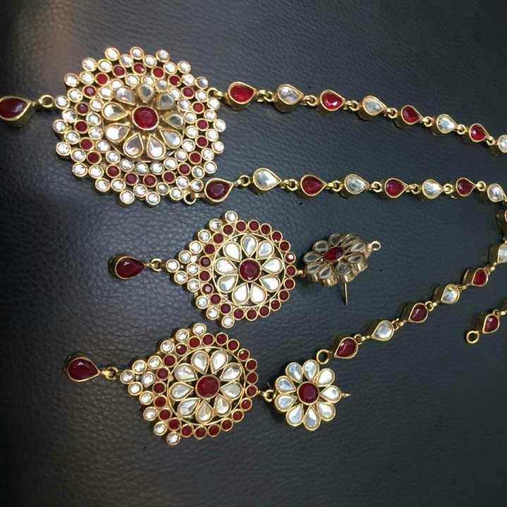 Gold plated jewellery set with Kundan (precious stone)work