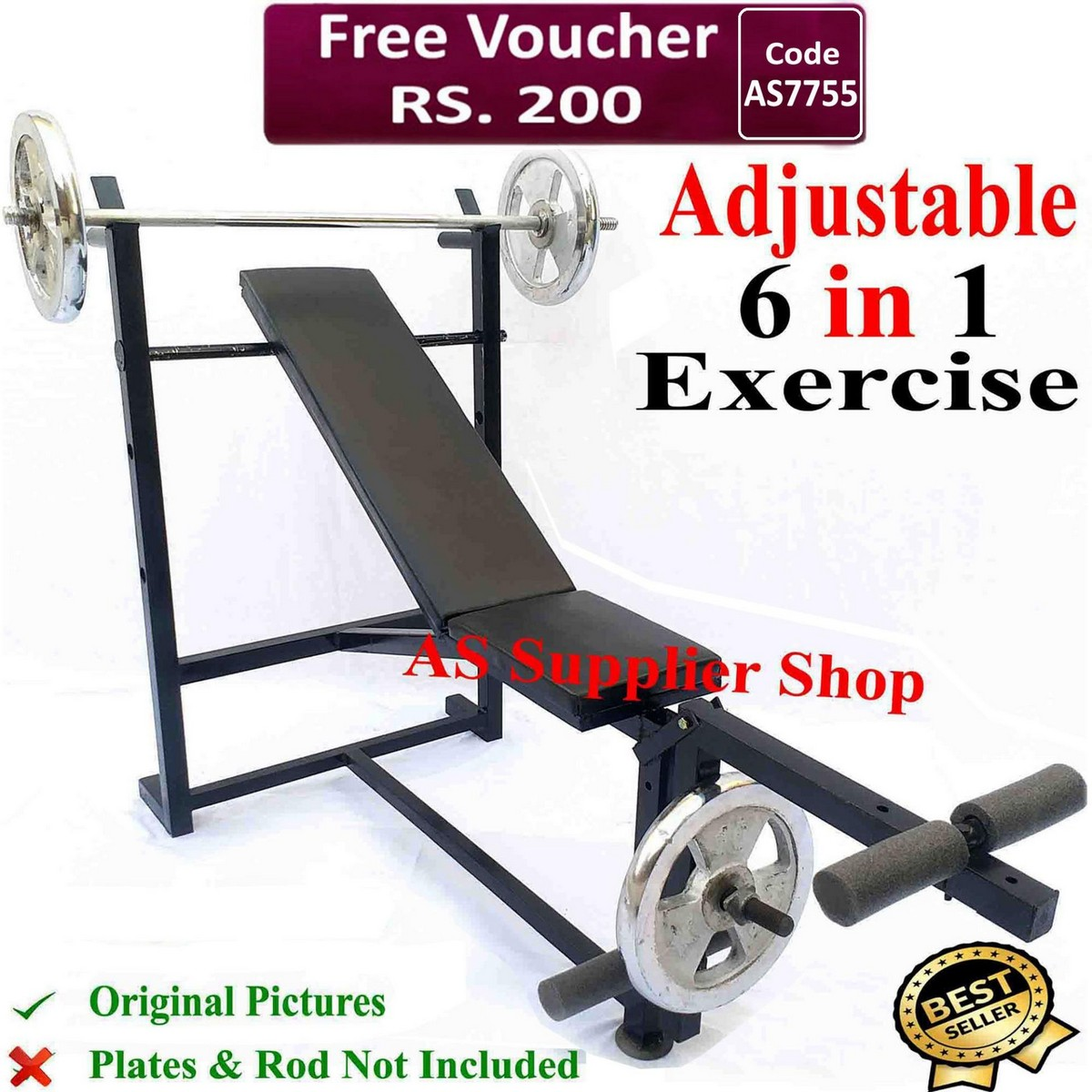 BEST Quality Multi 6 Exercise Adjustable Chest Bench Press Incline Decline Straight Flat Leg Thigh Biceps Bench Press Chest Exercise Bench Press Weight Lifting Bench Press Body Building Bench Press Home Gym Dumbbells Chest Workout Gym Bench Press