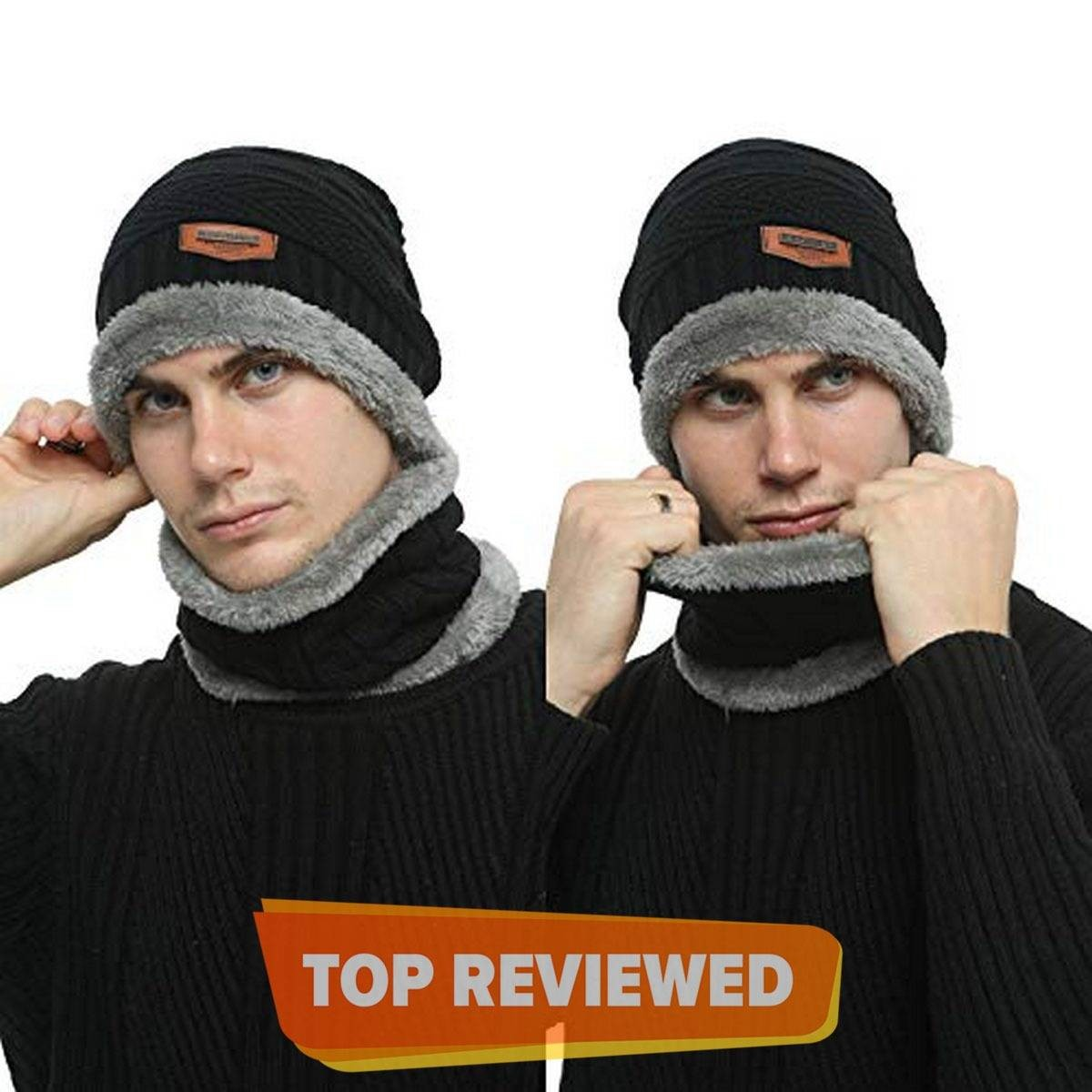 2-Pieces Winter Beanie Hat Scarf Set Warm Knit Hat Thick Fleece Lined Winter Cap Scarves for Men and Women