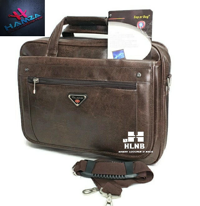 HLNB. Super A995. Faux Leather 15-inch Laptop Briefcase - Black _ Brown