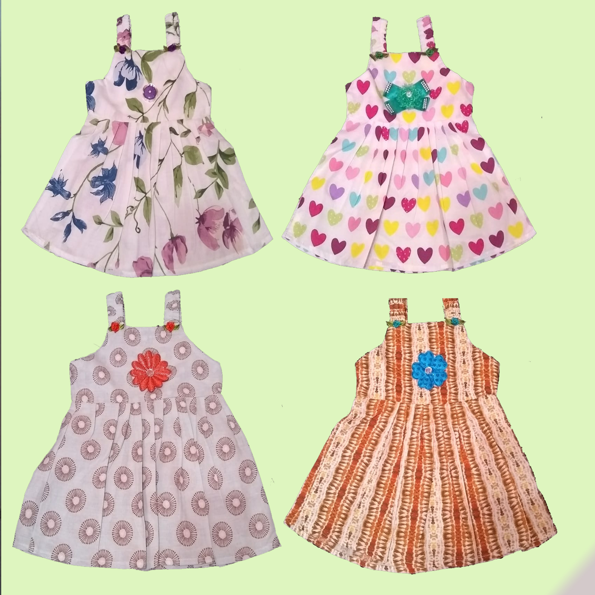 Pack Of 3 Multi-Color Baby Printed Cotton Frock For Girls (Random Design)
