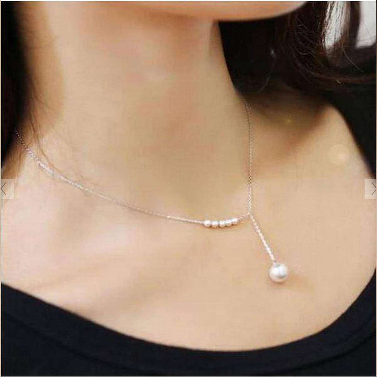 Silver Korean Temperament Sweet Imitation Pearl Necklace