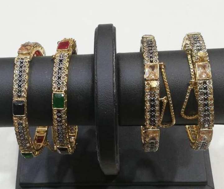 """Gold Plated"" Semi Precious Stone Studded Bangles Set. Egyptian Origin (For Women) - Sos1253"