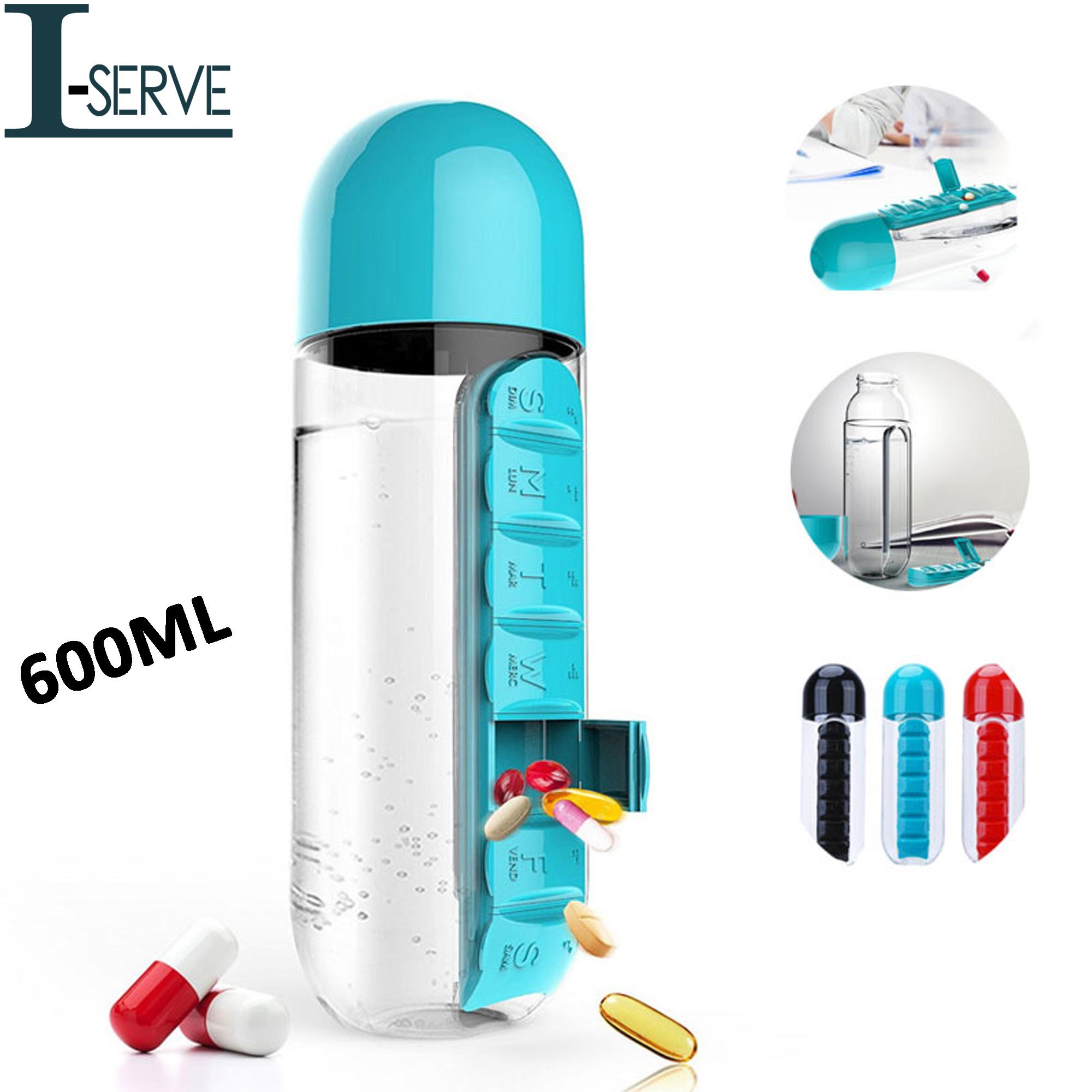 Vitamin Pill Box Organizer with Water Bottle Pill Pro Medicine Weekly Storage Box- Multi