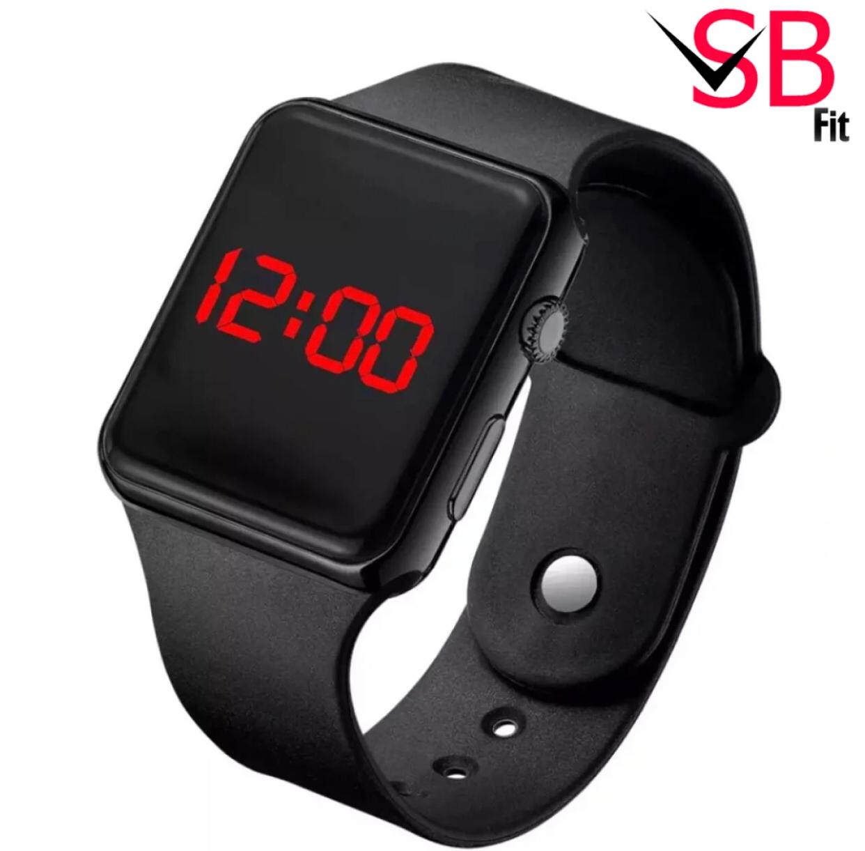 Digital Silicon Led Band For Men - SB Fit Black Stylish Sport Watch For Boys
