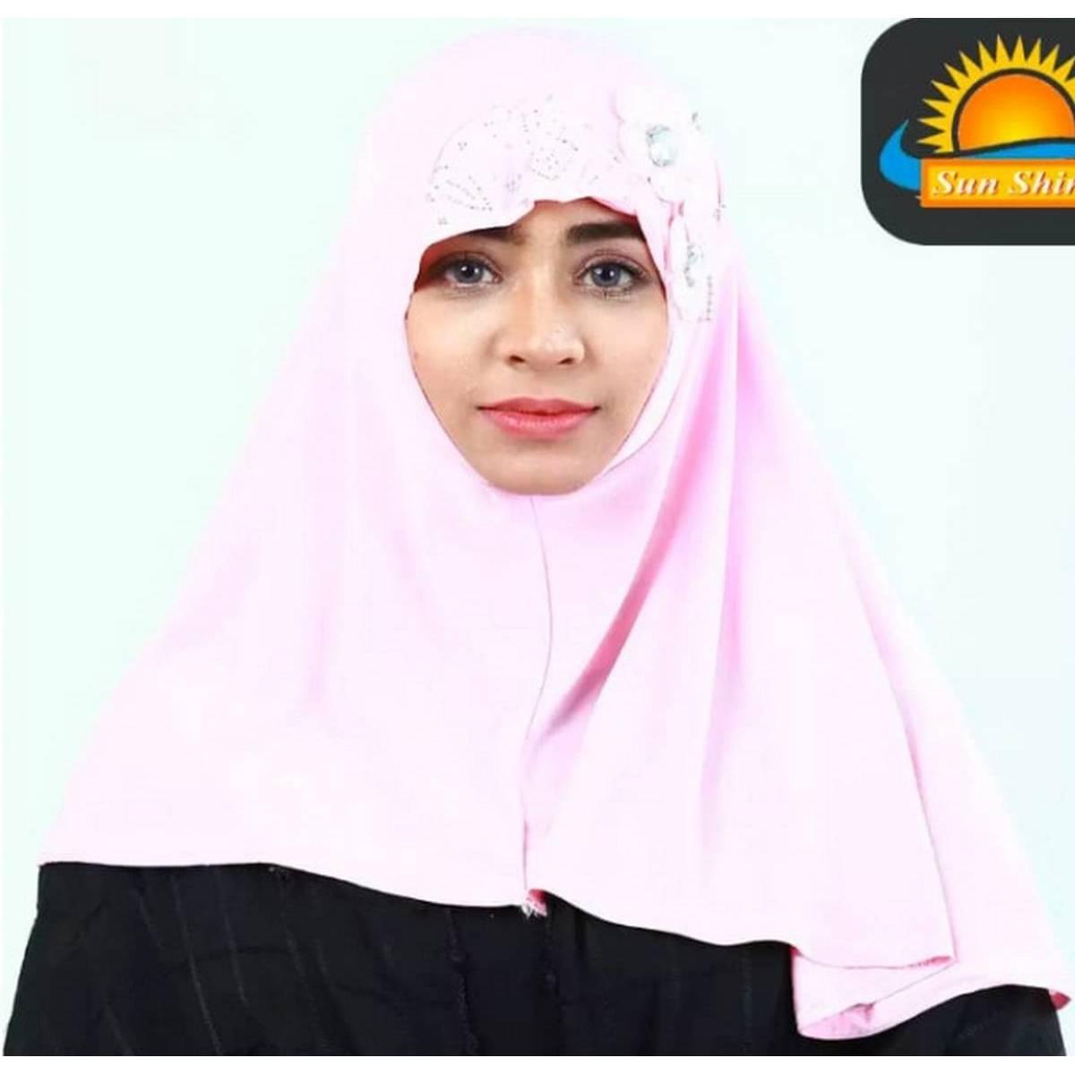 shopping.pk Muslim Kids Girls Hijab Islamic Headscarf Diamontes Flower Scarf One Piece Children Full Cover Makna Wrap Cover 2-7Y