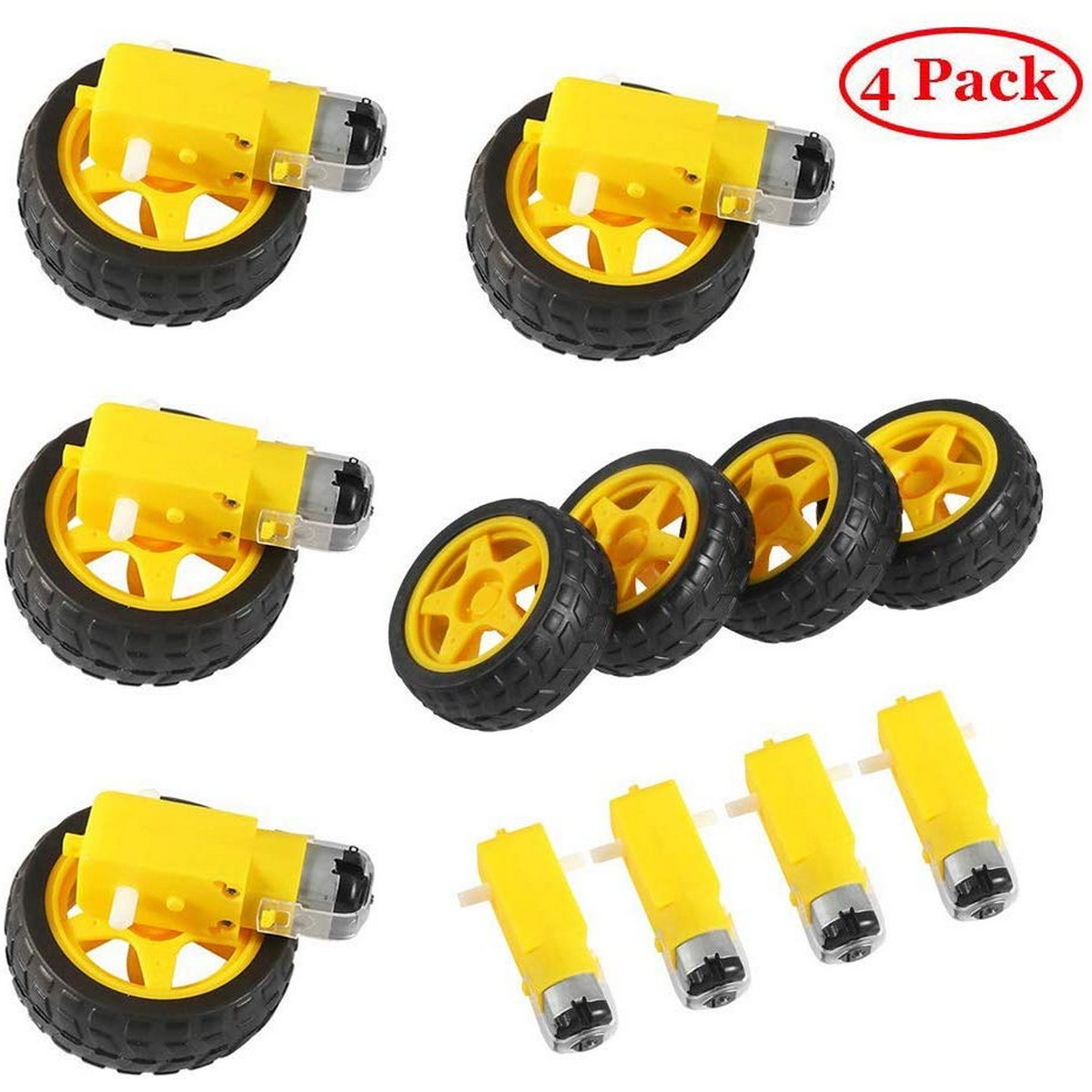 Pack of 8 : DC Gear Motor and Plastic Wheel 3∼6V Dual Shaft Smart Car Robot Geared TT Magnetic Gearbox Engine for Arduino Diy Kit 4 Motor and 4 Plastic Wheel