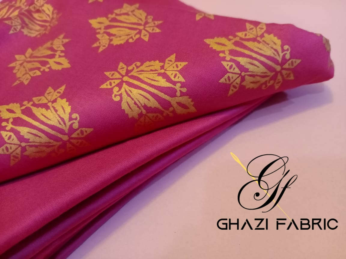 Ghazi fabric  Premium Quality Gold Printed Fabric linen collection unstich printed shirt & plain trouser Fabric 2 pc  pink (gf3432)