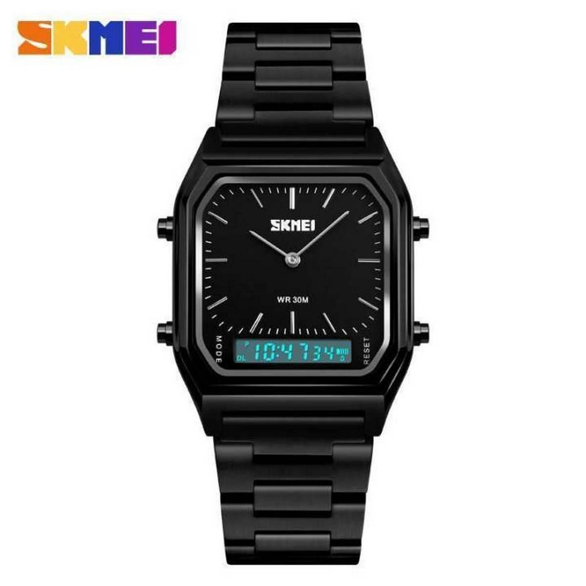 SKMEI 1220 Alloy Case 30M Waterproof Luminous Classic Quartz Digital Dual Display Watch For Men - Black