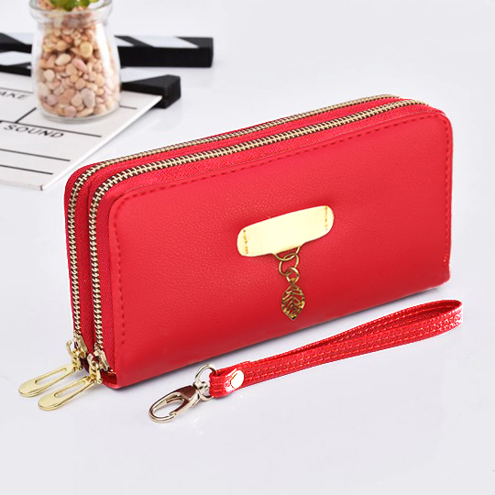 Imported Girls Wallets Double Zip Long Design Clutch with Card and Mobile Holder