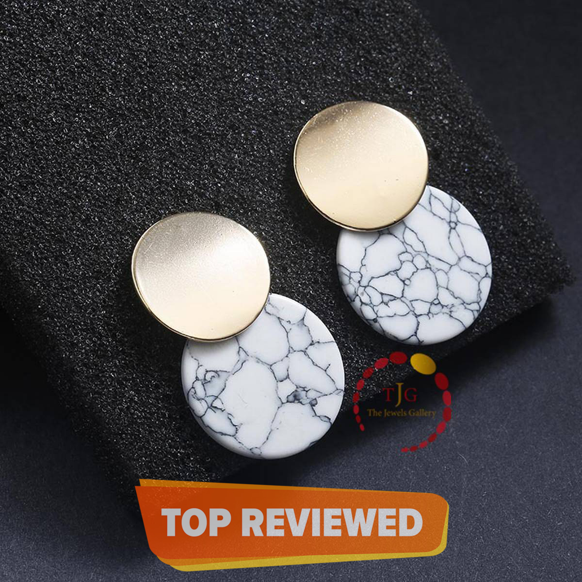 New Arrival Unique Double Round Drop Marble Earrings For Women 2021 Popular Retro Turquoise Geometric Statement Earrings