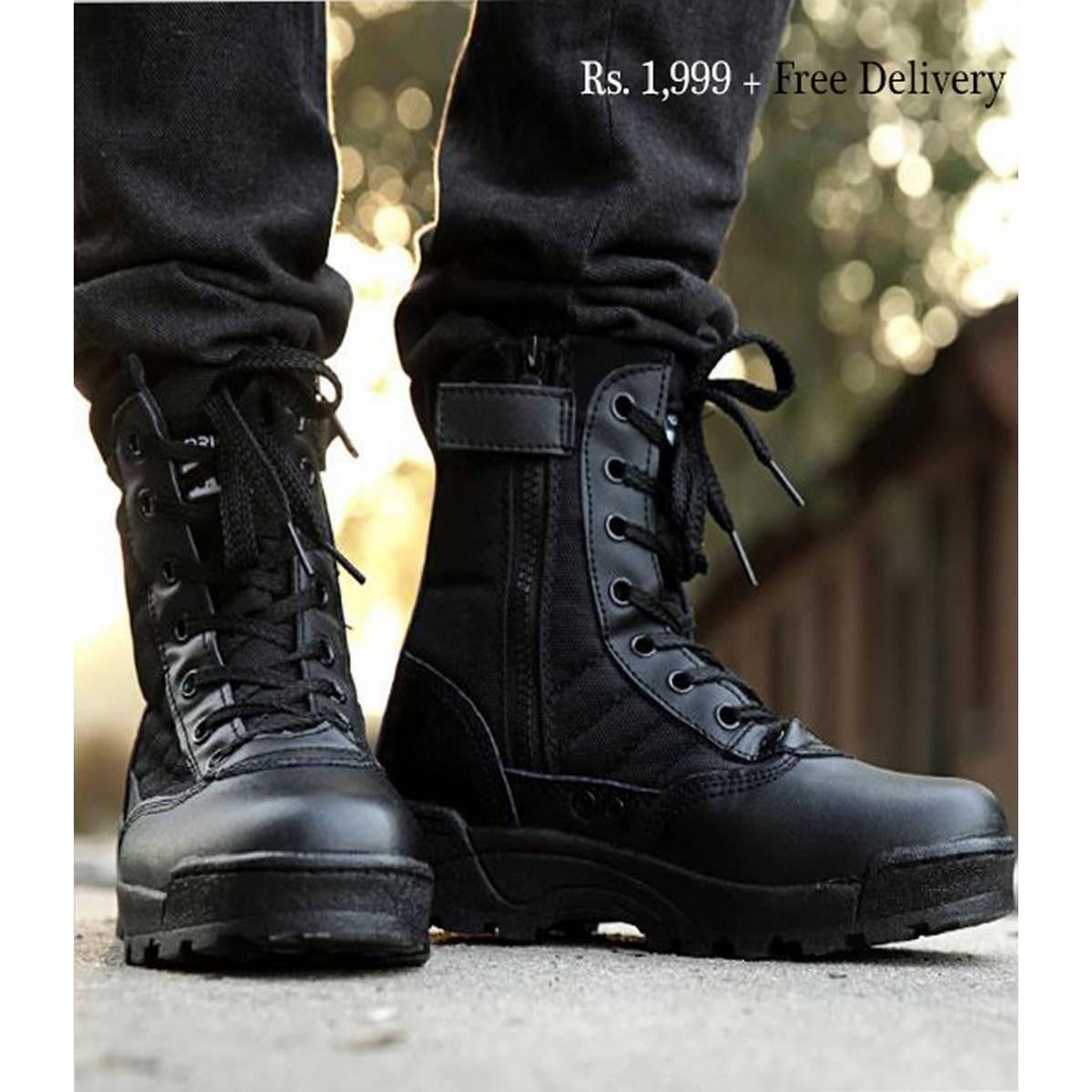 Army Delta Shoes Black Biker Boots