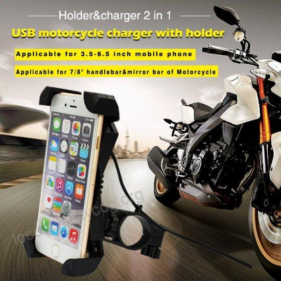 Universal Motorcycle Bike Handlebar Mount Cellphone Holder USB Charger For Phone