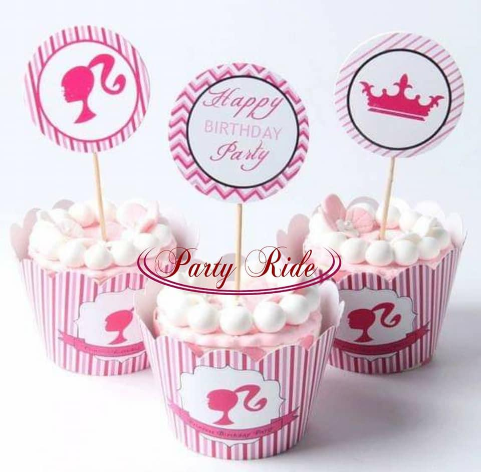 Product Details Of Barbie Cupcake Toppers And Wrappers Food Picks Birthday 1st Cake Topper Event Party Baby Shower
