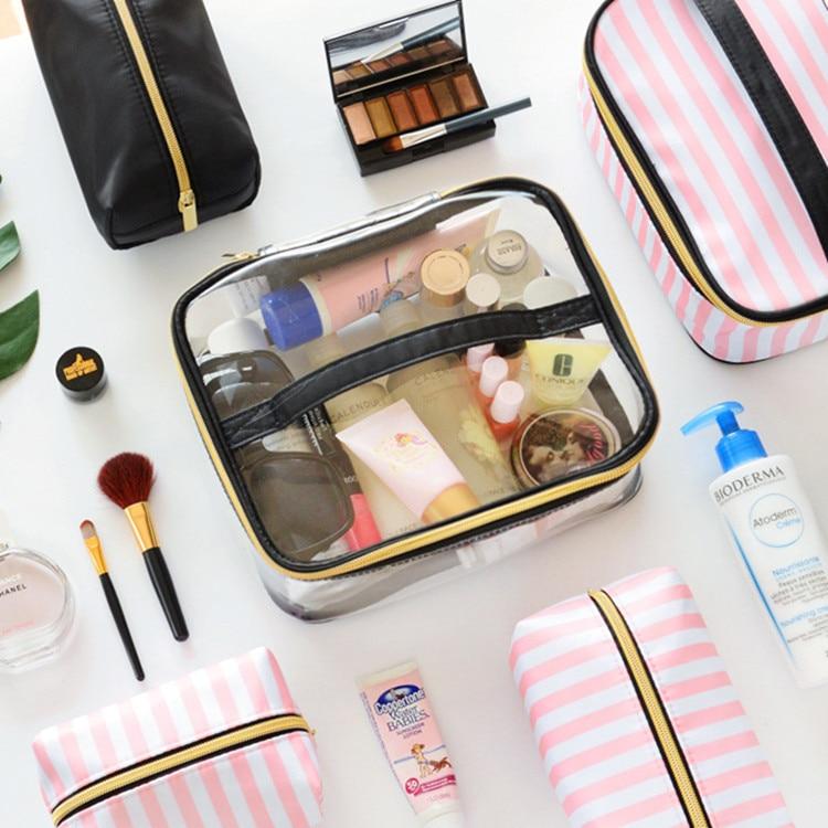 New Waterproof Transparent PVC Bathroom Cosmetic Bag Women Travel Zipper Makeup Cosmetic Organizer