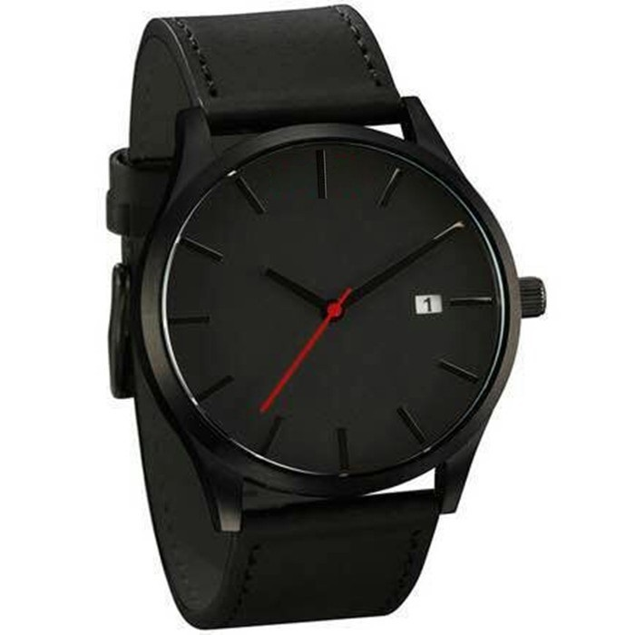 Black Leather Analog Watch for Men With Date Function