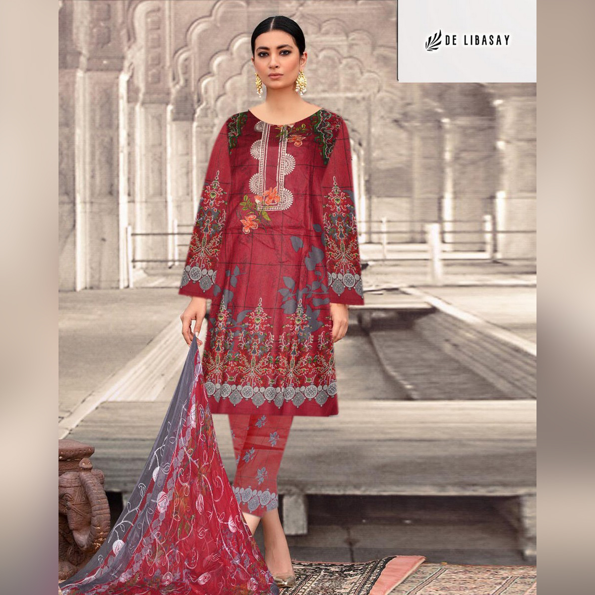 Summer, NEW LAWN COLLECTION, 3 Piece unstitched suit for women DE LIBASAY