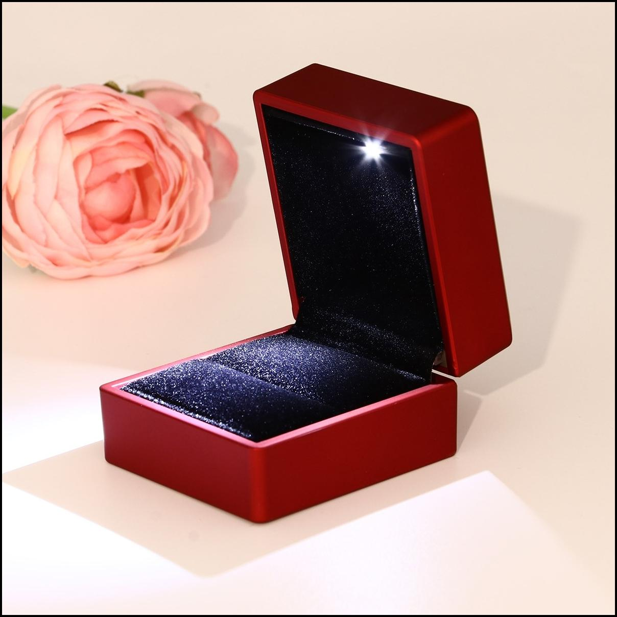 Red Lighted Ring Box with LED for Proposal Engagement Jewelry Displaying Gift Holder Box Packaging