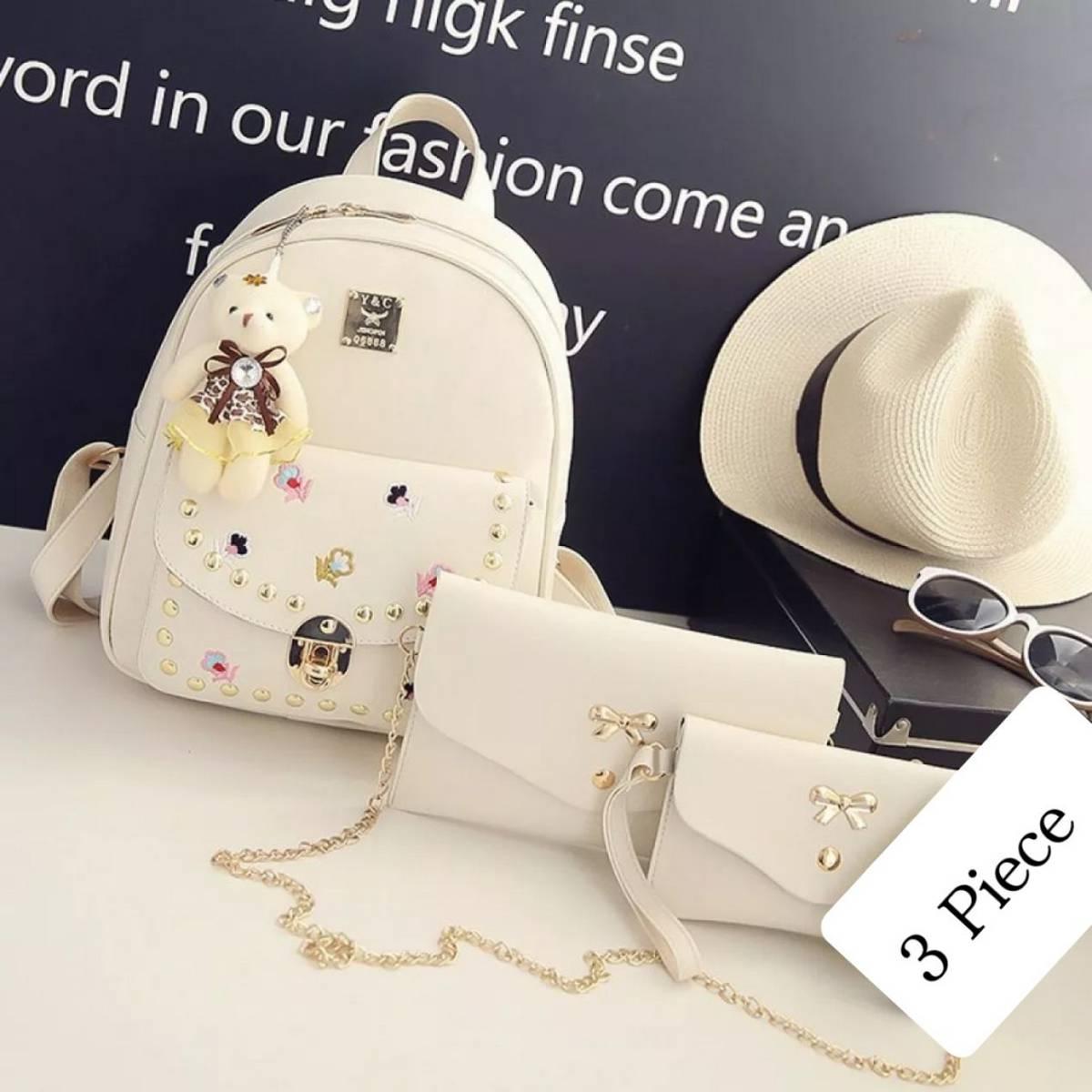 3pcs pu leather women small bag medium bag full size bag ladies luxery cute shape girls black simple design shoulder & hand bag