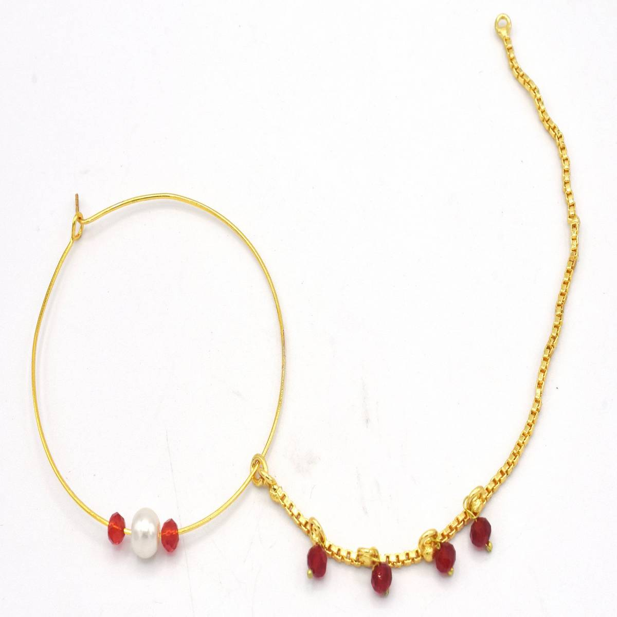 Golden Chain Nose Ring Nath for Women